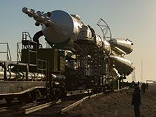 The Soyuz TMA-08M spacecraft rolls out to<br /> its launch pad in Baikonur Cosmodrome.<br /> Photo Credit: NASA/Carla Cioffi