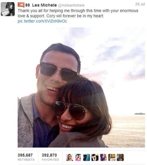 El tuit de Lea Michele sobre la muerte de Cory Monteith